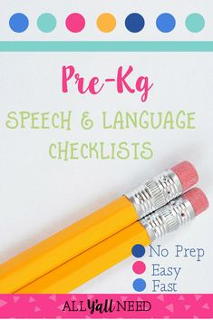 Speech & language checklist bundle for Pre-K kindergarten and first and second grade. Designed for SLPs in the school setting. Print and keep copies for teachers who have concerns about students. Receptive Language, Speech And Language, Speech Therapy Activities, Language Activities, Kindergarten, Students, Second Grade, Entourage, Therapy Ideas