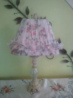 Shabby Chic chalk painted lamp base with bed sheet rag shade