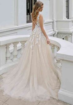 Mikayla A-line Wedding Dress by Blue by Enzoani - WeddingWire.com Puffy Wedding Dresses, Wedding Dress Pictures, Cute Wedding Dress, Dream Wedding Dresses, Bridal Dresses, Most Beautiful Wedding Dresses, Spring Wedding Dresses, Lace Wedding Gowns, Whimsical Wedding Dresses
