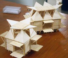 Casas de bambú de H Architects resisten inundaciones flotando sobre tambores reciclados