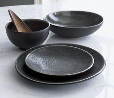 Jars Tourron Black Dinnerware Set - Crate and Barrel Crate And Barrel, Black Dinnerware, Dinnerware Sets, Terracotta, Japanese Plates, Grey Bowls, Black Bowl, Dish Sets, Ceramic Plates