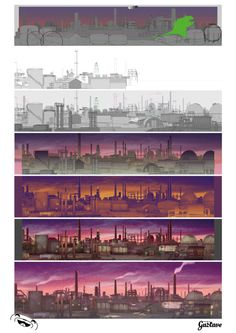 Making of Background of industry http://www.studiogustave.com/ #animation #background #drawing #makingof #studiogustave #gustave