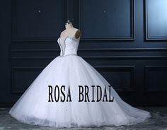 Princess Wedding Dress Deep V Neckline Ball Gown by rosabridal