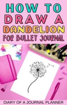 Looking for stunning drawing to embellish the pages of your bullet journal? Try out this dandelion doodle! #howtodraw #doodles #doodling Bujo Doodles, Love Doodles, Simple Doodles, Bullet Journal And Diary, Bullet Journal Printables, Journal Layout, Art Journal Pages, Dandelion Drawing, Doodle Quotes