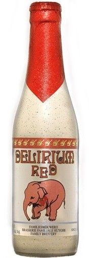 Cerveja Delirium Red, estilo Fruit Beer, produzida por Huyghe, Bélgica. 8.5% ABV de álcool.