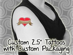 50 Temporary Tattoos - Custom Packaging - Wedding Favors - Dozens of Personalized Designs to Choose From - Your Choice of Text