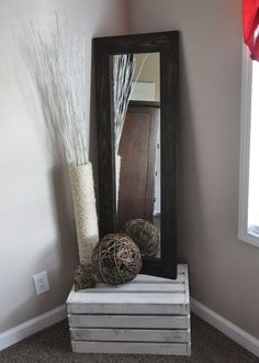 This is so cute. So much better looking than a regular old mirror sitting on the floor. Diy Rustic Decor, Diy Home Decor, Rustic Farmhouse, My Dream Home, Decor Ideas, Easy Diy, Sweet Home, Bedroom, Home Kitchens