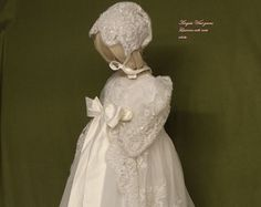 Lilliana ivory silk  alternate top and bonnet Christening gown