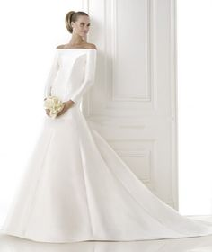 Specials Mermaid Dress In Mikado With Wrap-Over Bodice And Long Sleeves Irish Wedding Dresses Free Measurement