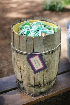 Might need to consider this one!!! Even though I hate being sticky from bug spray! Keep away uninvited guests!The perfect favor for an outdoor wedding.