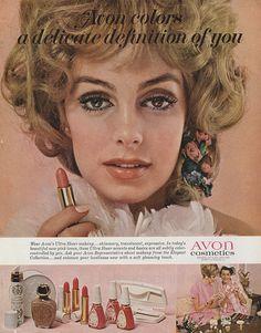 Avon Vintage Ad About Headline: Avon colors a delicate definition of you. Vintage Makeup Ads, Vintage Nails, Vintage Fur, Vintage Avon, Vintage Beauty, Vintage Pink, 1960s Makeup, Retro Makeup, Avon Lipstick