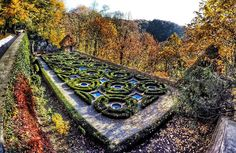 An autumn castle garden