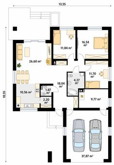 Kiwi 4 projekt domu - Jesteśmy AUTOREM - DOMY w Stylu 20x30 House Plans, 5 Bedroom House Plans, House Plans Mansion, New House Plans, House Floor Plans, Building Plans, Building Design, Building A House, Modern Small House Design