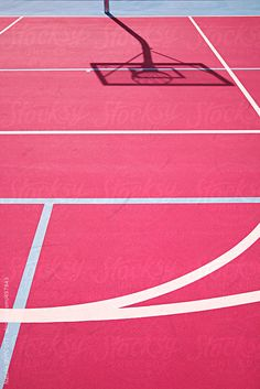 graphic colourful lines on a pink basketball court by nataliejeffcott | Stocksy United