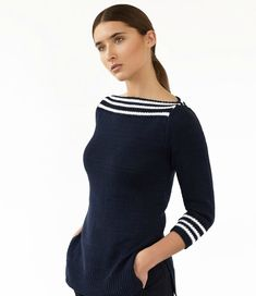 Sailor uploaded in SWAY: SAILOR classic sweater with striped trim Rowan Cotton Glace/Nightshade Bleached M:. Cotton Crochet Patterns, Knitting Magazine, Sailor, High Fashion, Sweaters For Women, Women's Sweaters, Couture, Clothes For Women, Collection