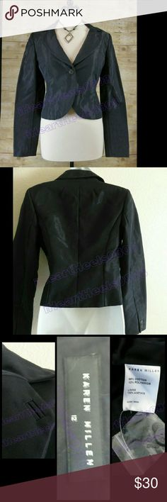 Karen Millen Jacket blazer UK 12 NWT Cute little jacket in black with light shimmer to the material. UK 12, which is a small US 8. Comes with extra buttons. Never worn. Karen Millen  Jackets & Coats Blazers