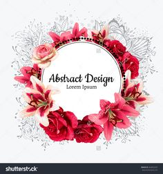 Vector Red Rose And White Lily Illustration. Invitation Card. - 462852223 : Shutterstock