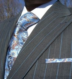 Angelino Grey with Sky and Taupe pinstripe suit. www.MorCouture.com