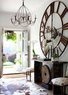 Foyer With Large Round Wall Clock : Ways To Hang Wall Clocks