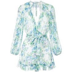 Zimmermann floral print dress ($650) ❤ liked on Polyvore featuring dresses, multicolour, floral pattern dress, multi coloured dress, zimmermann dress, blue flower print dress and blue dress