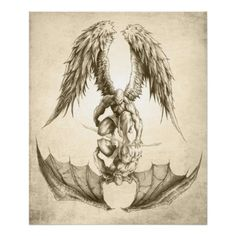 Shop Angels and Demons - Reflection Poster created by thehomeofjon. Dragon Sleeve Tattoos, Best Sleeve Tattoos, Sleeve Tattoos For Women, Tattoos For Guys, Tattoos Pics, Tattoo Sleeves, Tattoos Gallery, Life Tattoos, Angel Demon Tattoo