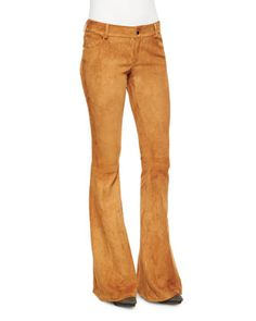 Suede Bell-Bottom Pants by Alice + Olivia at Neiman Marcus.