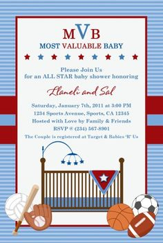 vintage sports baby shower printable birthday invitation - big, Baby shower invitations