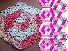 /3d,illusion,afghan,blanket,blocks,crochet,diamond-
