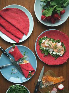 Beetroot pancakes with hot smoked salmon // Gluten free
