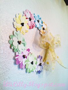 Paint chip flower wreath- I made this but used a heart punch istead of cutting out by hand. Super easy.