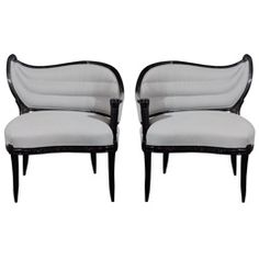 Pair of 1940's Hollywood Regency Occasional Chairs from High Style Deco