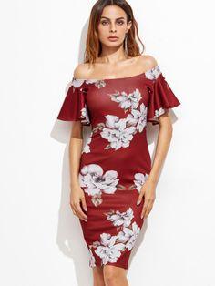 Burgundy Flower Print Flutter Sleeve Two Way Dress — € -----color: Burgundy size: S,XS Casual Day Dresses, Cute Dresses, Floral Dresses, Dress P, Bodycon Dress, Sheath Dress, Shops, Burgundy Flowers, Ruffle Sleeve Dress