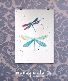 Dragonfly Original Watercolor - Art decor, handmade, watercolor, painting, butterfly. Libélula hecha a mano.Técnica acuarela.ORIGINAL.