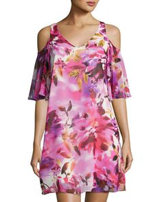 Floral-Print+Chiffon+Shift+Dress,+Red+Pattern+by+Maggy+London+at+Neiman+Marcus+Last+Call.