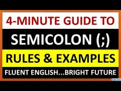 This video explains the usage of semicolon with examples. english grammar, grammar for kids, punctuation marks, grammar for student. English For Competitive Exams, English Grammar For Kids, Fluent English, Grammar Lessons, Punctuation, Communication Skills, How To Become, Students