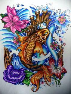 koi and water lilies tattoo design by Chantal at Iron Lotus Body Art in Winnipeg