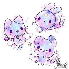 Space pets . . . #space #galaxy #pastel #bunnylove #catlove #doglove #chibi #jenniilustrations #jennilustrations