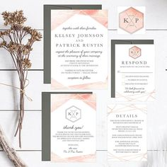 Watercolor Pink Wedding Invitation Template Modern Printable