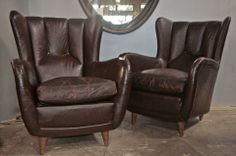 Pair of Poltrone Frau Leather Armchairs at 1stdibs