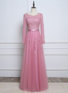 Rose Pink Real Sample Prom Evening Dresses With Long Sleeves Lace Appliques Pearls Cheap Robe De Soiree A Line Evening Dress, Evening Dresses, Prom Dresses, Formal Dresses, Wedding Dresses, Prom Party, Party Dress, Lace Applique, Chic Wedding