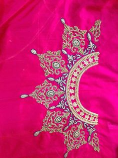 High neck maharani work on silk saree blouse. get it done at http://mytailor.in/