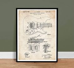 Buy Fender Stratocaster Guitar 1956 US Patent Print Poster Vintage Strat Gift - various sizes and colors by stevesposterstore. Explore more products on http://stevesposterstore.etsy.com