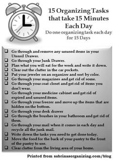 15 Organizing Tasks that take 15 Minutes Each Day | Sabrina's OrganizingSabrina's Organizing
