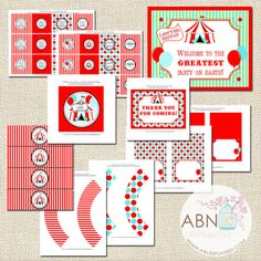 Circus Carnival Party Decorations Collection by ABlissfulNestShop, $35.00