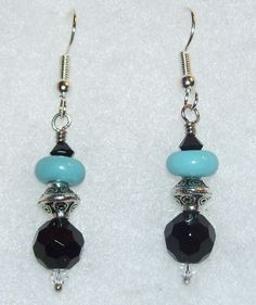 Black & Turquoise Earrings with Silver by mommazart on Etsy, $12.00