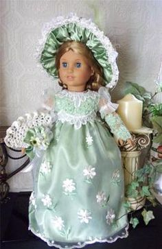 Handmade Mint Green Lace and Satin Regency Gown set For American Girl Dolls