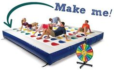 There aren't many who could resist playing a round on this giant inflatable Twister game (even if you're not as spry as you used to be), but the price tag might leave you with a little hesitation. For $2,000 we're pretty sure we can make one on our own! Here are a few ideas how: