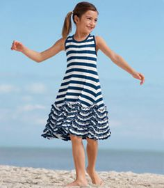 navy stripe sleeveless dancing ruffles dress - Chasing Fireflies