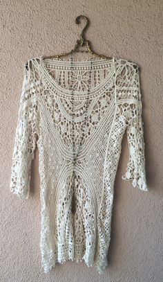 Image of Jens Pirate Booty Beach boho crochet coverup for resort or summer day in Sunshine