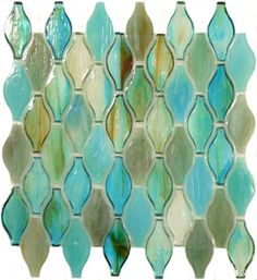 "Botanical Glass  1 3/8"" x 3"", Unique Shapes, Turquoise, Glossy, Green, Glass…"